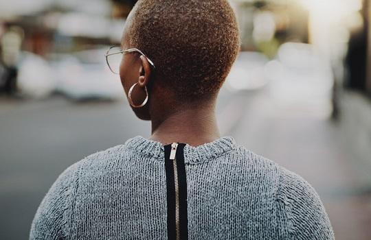 A black woman walking