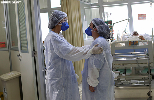 Healthcare workers in a hospital in Brazil