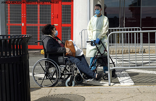 A patient leaving hospital